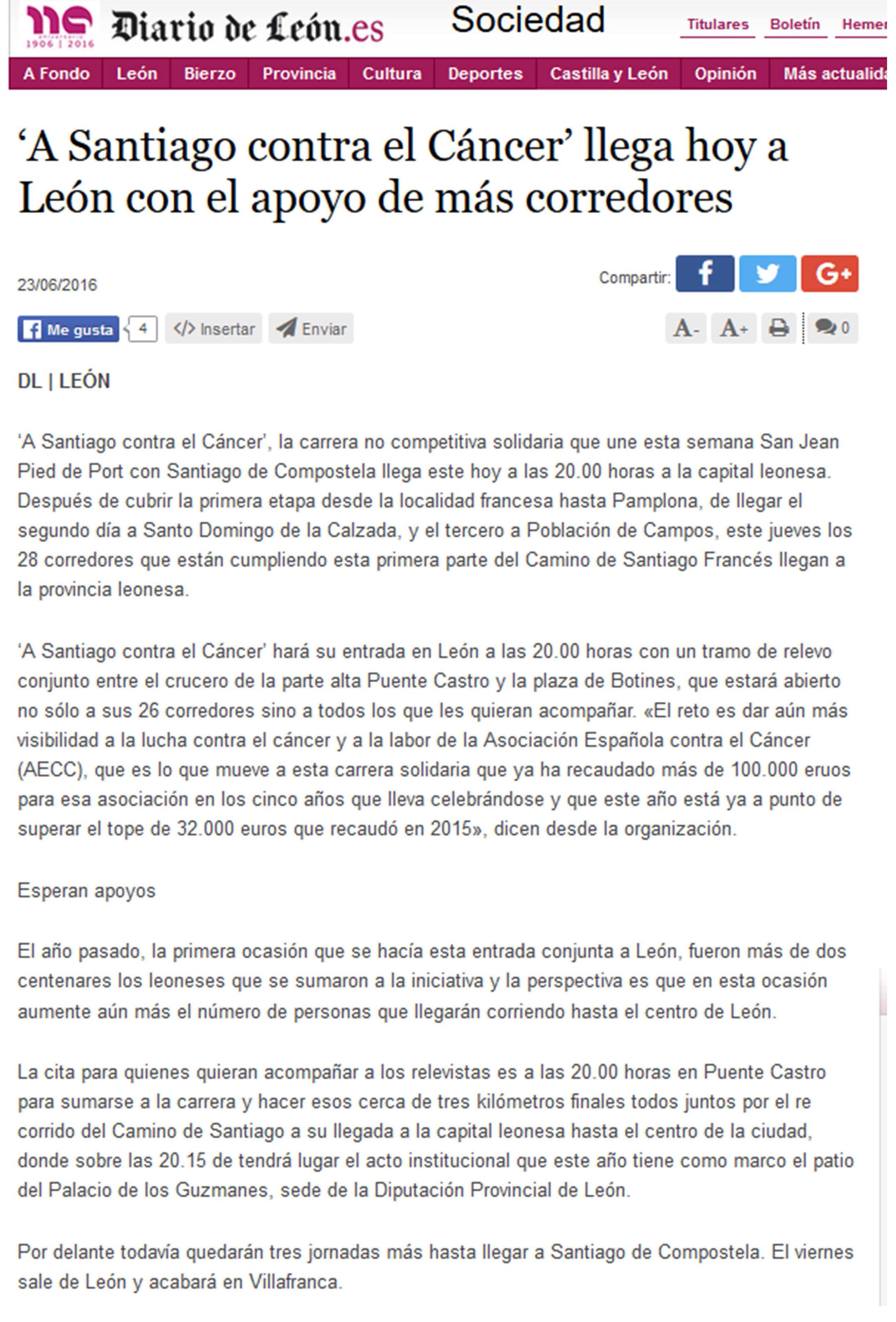 Resumen de prensa 2016 | A Santiago contra el cáncer